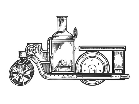 Steam engine road roller tractor engraving vector
