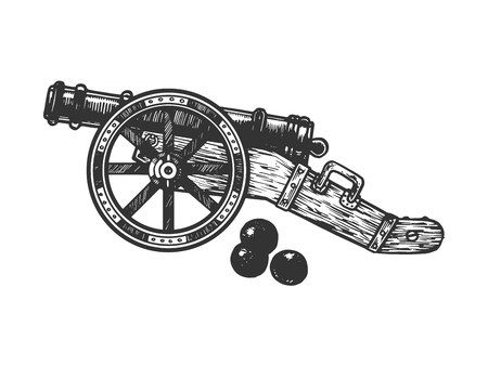 Cannon and cannonball engraving vector illustration. Scratch board style imitation. Black and white hand drawn image. Stok Fotoğraf - 107164676