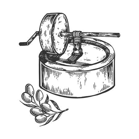 Alte Olivenölpresse Gravurvektorillustration. Nachahmung im Scratch Board-Stil. Schwarzweiss-Hand gezeichnetes Bild. Standard-Bild