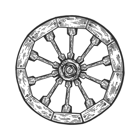 Cart old wooden wheel engraving vector illustration. Scratch board style imitation. Black and white hand drawn image. Illustration