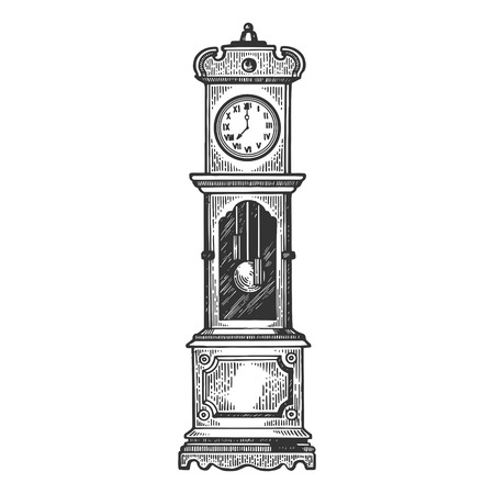 Floor clock with pendulum engraving vector illustration. Scratch board style imitation. Black and white hand drawn image.