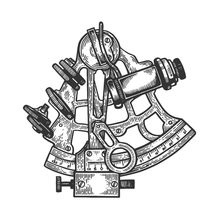Sextant navigation instrument engraving vector illustration. Scratch board style imitation. Black and white hand drawn image.