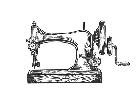Vecchio meccanico macchina da cucire incisione illustrazione vettoriale. Imitazione di stile scratch board. Immagine disegnata a mano in bianco e nero. Vettoriali