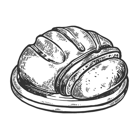 Sliced bread engraving vector illustration. Scratch board style imitation. Black and white hand drawn image.