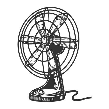 Old table fan engraving vector illustration. Scratch board style imitation. Black and white hand drawn image. Vettoriali
