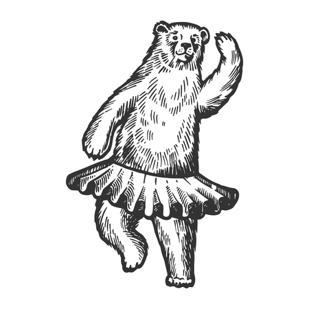 Dancing circus bear animal engraving scratch-board style imitation. Banque d'images