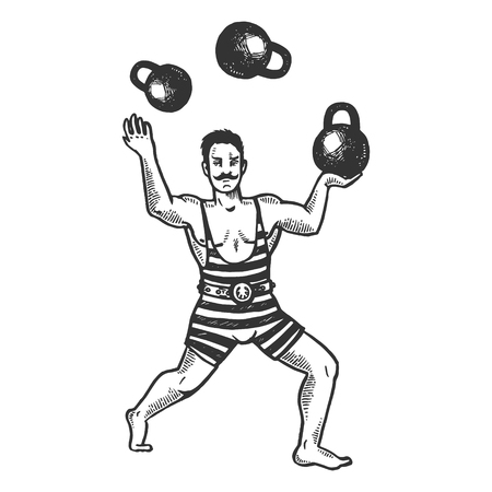 Circus strongman juggles with weights engraving vector illustration. Scratch board style imitation. Black and white hand drawn image. Ilustração