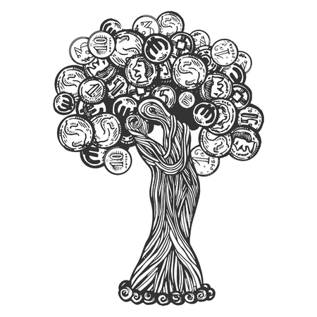 Tree with coins engraving vector illustration. Scratch board style imitation. Black and white hand drawn image.