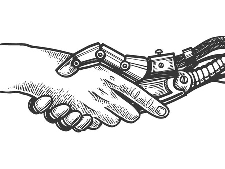 Mechanical human robot handshake engraving vector illustration. Scratch board style imitation. Black and white hand drawn image.