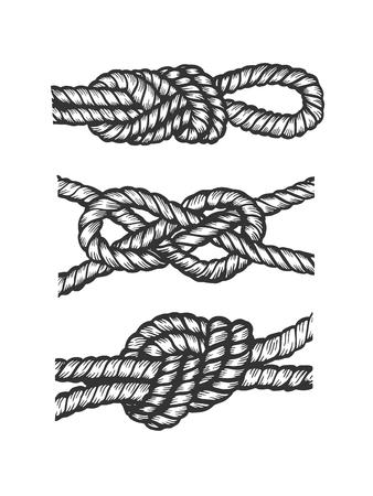 Ilustración de vector de grabado de nudo náutico marino. Imitación de tablero de rascar. Imagen dibujada a mano en blanco y negro.