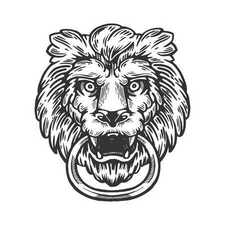 Lion animal ring door handle knob engraving vector illustration. Scratch board style imitation. Black and white hand drawn image.