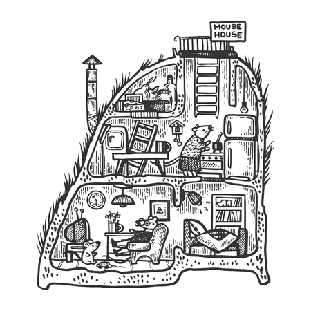 Fantastic fabulous mouse house interior engraving vector illustration. Scratch board style imitation. Black and white hand drawn image. Stock Photo