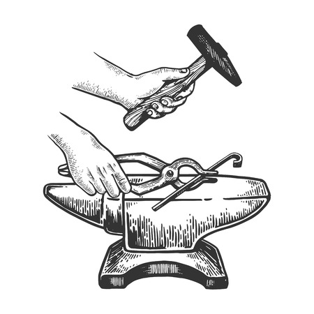 Blacksmith works on anvil with hammer engraving vector illustration. Scratch board style imitation. Black and white hand drawn image.