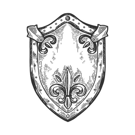Ancient knight shield engraving vector illustration. Scratch board style imitation. Black and white hand drawn image. Stock Photo