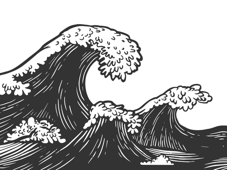 Ocean waves engraving vector illustration. Scratch board style imitation. Black and white hand drawn image.