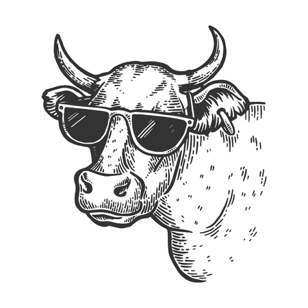 Cow animal in sunglasses engraving vector illustration. Scratch board style imitation. Black and white hand drawn image. Illustration