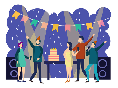 People party cartoon. Colorful flat style. Cartoon vector illustration Ilustração