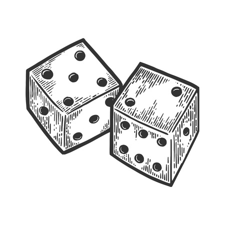 Dice engraving vector illustration. Scratch board style imitation. Black and white hand drawn image. Çizim