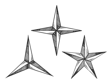 Star shapes engraving vector illustration. Scratch board style imitation. Black and white hand drawn image. Çizim