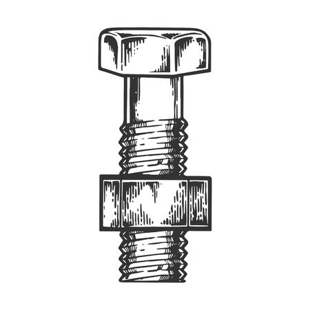 Perno y tuerca atornillada grabado ilustración vectorial. Imitación de tablero de rascar. Imagen dibujada a mano en blanco y negro. Ilustración de vector