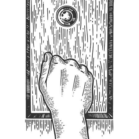 Illustration vectorielle de main frapper porte gravure. Imitation de style planche à gratter. Image dessinée à la main en noir et blanc.
