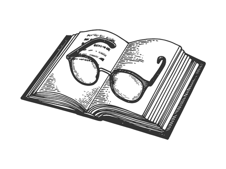 Glasses on book engraving vector illustration. Scratch board style imitation. Black and white hand drawn image. Ilustrace