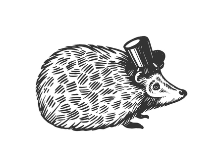 Hedgehog animal in cylinder top hat engraving vector illustration. Scratch board style imitation. Black and white hand drawn image.