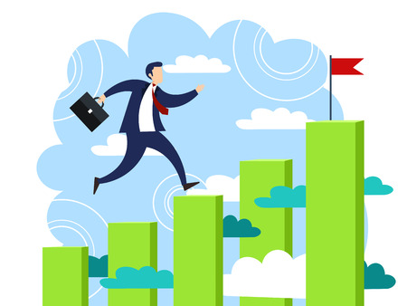 Businessman runs on graph chart upwards by steps to his goal. Business make deal metaphor in minimalistic flat style. Cartoon vector illustration