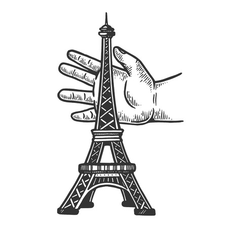 Child hand playing with eiffel tower engraving vector illustration. Scratch board style imitation. Black and white hand drawn image. Banque d'images - 109722265
