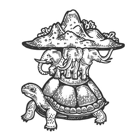 Ancienne idée de la terre plate sur la tortue et les éléphants gravure illustration vectorielle. Imitation de style planche à gratter. Image dessinée à la main en noir et blanc. Vecteurs
