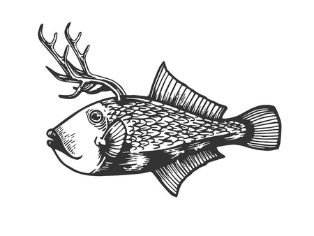 Fantastic fabulous fish with deer horns animal engraving vector illustration. Scratch board style imitation. Black and white hand drawn image. Ilustração