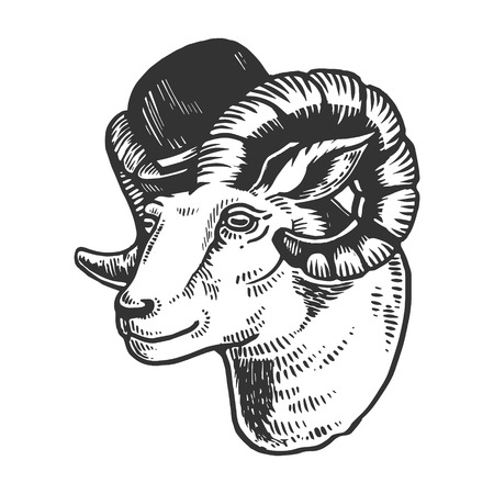 Ram animal in bowler hat engraving vector illustration. Scratch board style imitation. Black and white hand drawn image.