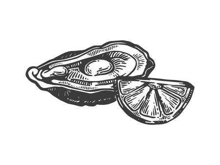 Oyster with lemon sea animal engraving vector illustration. Scratch board style imitation. Black and white hand drawn image. 向量圖像