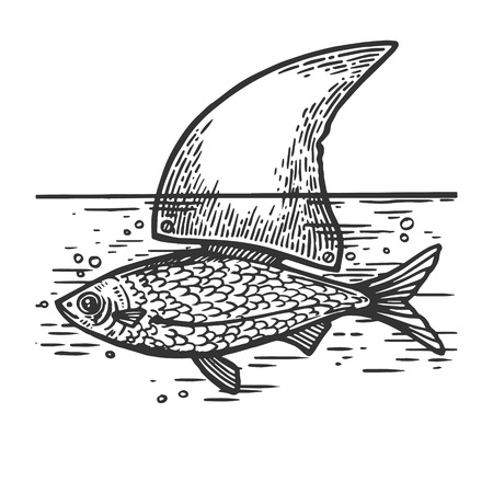 Fish with shark artificial fin sea animal engraving vector illustration. Scratch board style imitation. Black and white hand drawn image.