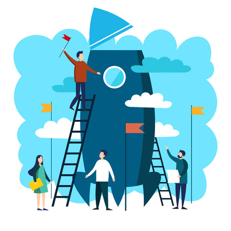 Work team of people constructing space rocket. Business success metaphor in minimalistic flat style. Cartoon vector illustration