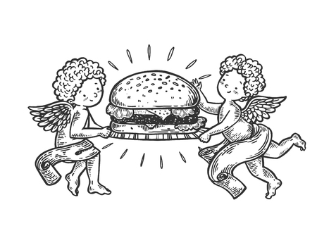 Angel with Hamburger engraving vector illustration. Scratch board style imitation. Black and white hand drawn image. Standard-Bild - 109463017