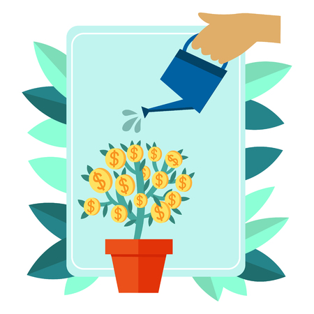 Money plant watering. Business metaphor flat style. Cartoon vector illustration