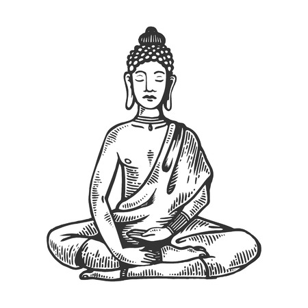 Meditating buddha in Lotus position engraving vector illustration. Scratch board style imitation. Black and white hand drawn image.