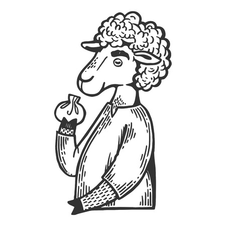 Cartoon sheep eat khinkali engraving vector illustration. Scratch board style imitation. Black and white hand drawn image.