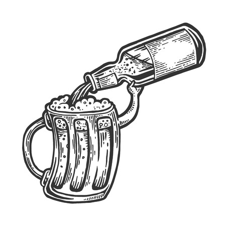 Cup pours beer from bottle engraving vector illustration. Scratch board style imitation. Black and white hand drawn image. Imagens
