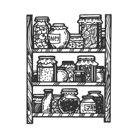 Jars of canned vegetables and fruits engraving vector illustration. Scratch board style imitation. Black and white hand drawn image.