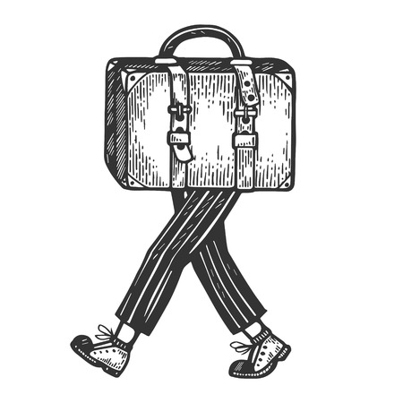Suitcase bag walks on its feet engraving vector illustration. Scratch board style imitation. Black and white hand drawn image.