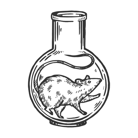 Rat mouse animal in laboratory glass flask engraving vector illustration. Scratch board style imitation. Black and white hand drawn image. Ilustração