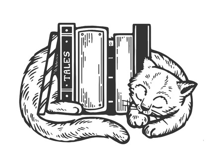 Sleeping cat around books engraving vector illustration. Scratch board style imitation. Black and white hand drawn image.