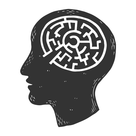 Human brain in head in form of maze labyrinth. engraving vector illustration. Scratch board style imitation. Black and white hand drawn image.