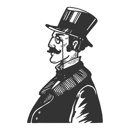 Gentleman with old fashioned phone engraving vector illustration. Scratch board style imitation. Black and white hand drawn image.