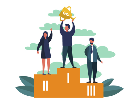 Winning businessman on first place sport pedestal. Business success metaphor in flat style. Cartoon vector illustration