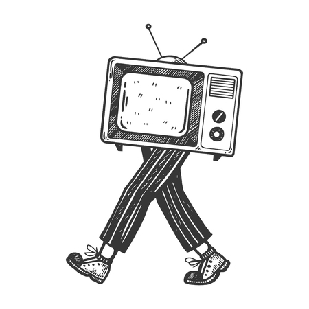 TV walks on its feet engraving vector illustration. Scratch board style imitation. Black and white hand drawn image.