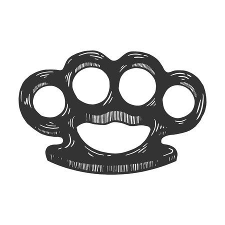 Brass knuckles engraving vector illustration. Scratch board style imitation. Black and white hand drawn image.