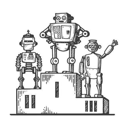 Robots on sport pedestal engraving vector illustration. Scratch board style imitation. Black and white hand drawn image.